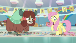 Size: 1920x1080 | Tagged: bow, cloven hooves, duo, female, fluttershy, hair bow, mare, monkey swings, pegasus, pony, safe, screencap, she's all yak, spoiler:s09e07, yak, yona