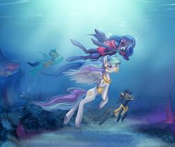 Size: 4050x3398   Tagged: safe, artist:stasushka, princess celestia, princess luna, oc, alicorn, pegasus, pony, unicorn, bubble, diving, female, high res, mare, royal sisters, siblings, sisters, snorkel, swimming, underwater, water
