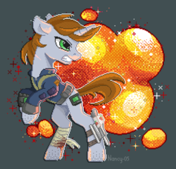 Size: 1435x1376   Tagged: safe, artist:nancy-05, oc, oc only, oc:littlepip, pony, unicorn, fallout equestria, bandage, blood, clothes, explosion, fanfic, fanfic art, female, gritted teeth, gun, handgun, hooves, horn, injured, little macintosh, mare, optical sight, pipbuck, pixel art, rearing, revolver, scope, solo, vault suit, weapon