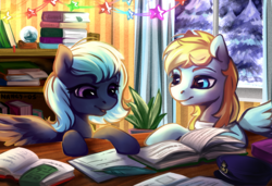 Size: 1024x701 | Tagged: artist:nancy-05, book, duo, female, mare, oc, pegasus, pony, safe, snow, winter