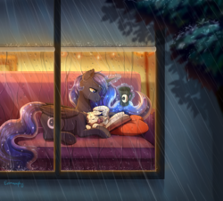 Size: 1280x1159 | Tagged: alicorn, alicorn oc, artist:evomanaphy, book, cat, couch, lidded eyes, not luna, oc, oc:midnight, oc only, parent:luna, parent:princess luna, pony, rain, safe, smiling, solo, window