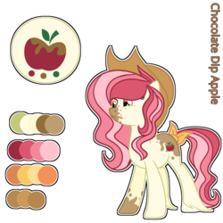 Size: 1280x1280 | Tagged: artist:star-gaze-pony, earth pony, female, hat, mare, oc, oc:chocolate dip, offspring, parent:apple bloom, parent:pipsqueak, parents:pipbloom, pony, reference sheet, safe, simple background, solo, transparent background