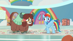 Size: 1920x1080 | Tagged: bow, cloven hooves, duo, female, hair bow, mare, monkey swings, pegasus, pony, rainbow dash, safe, screencap, she's all yak, spoiler:s09e07, yak, yona