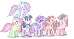 Size: 2704x1452 | Tagged: artist:6-fingers-lover, base used, earth pony, female, magical lesbian spawn, mare, oc, oc only, offspring, parent:applejack, parent:fluttershy, parent:pinkie pie, parent:rainbow dash, parent:rarity, parents:applepie, parents:flutterdash, parents:rarilight, parent:twilight sparkle, pegasus, pony, safe, simple background, transparent background, unicorn