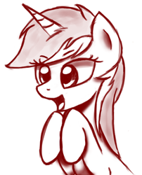 Size: 843x1041 | Tagged: artist:vexx3, monochrome, open mouth, safe, solo, unicorn