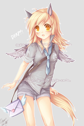 Size: 600x892 | Tagged: safe, artist:oceanchan, derpy hooves, human, anime, cute, derpabetes, eared humanization, female, humanized, solo, tailed humanization, winged humanization, wings
