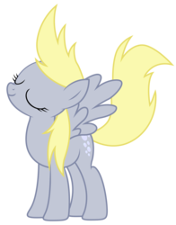 Size: 3912x5000 | Tagged: artist:kooner-cz, derpy hooves, eyes closed, fabulous, female, high res, mare, pegasus, pony, raised tail, safe, simple background, smiling, solo, spread wings, tail, transparent background, vector, wings