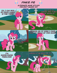 Size: 2136x2726 | Tagged: safe, artist:nightmaremoons, gummy, pinkie pie, pony, ask pun, alternate hairstyle, ask, mane swap, mirror, solo