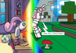 Size: 3508x2480 | Tagged: safe, artist:lizardwithhat, sweetie belle, pony, robot, robot pony, unicorn, don't mine at night, bag, controller, crossover, cute, diasweetes, female, filly, foal, globe, hooves, horn, microsoft, minecraft, portal, rainbow, regal, room, solo, speech bubble, sweetie bot, transformation, tree