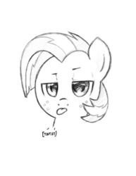 Size: 799x1037   Tagged: safe, artist:trickydick, babs seed, pony, :p, monochrome, solo, tongue out
