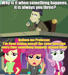 Size: 636x707 | Tagged: safe, edit, edited screencap, screencap, apple bloom, cranky doodle donkey, scootaloo, sweetie belle, equestria girls, equestria girls series, happily ever after party, cutie mark crusaders, female, happily ever after party: rainbow dash, harry potter, inverted mouth, male, meme
