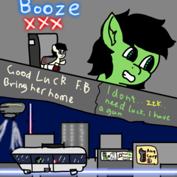 Size: 1440x1440 | Tagged: airship, artist:scotch, bar, city, cityscape, comic, cybernetic enhancement, dialogue, female, filly, heterochromia, monorail, night, oc, oc:filly anon, oc:torch-light, pony, robot, robot pony, safe, zeppelin