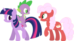 Size: 3584x1993 | Tagged: artist:porygon2z, dragon, dragons riding ponies, oc, oc:strawberry fluffcake, pony, riding, safe, simple background, spike, transparent background, twilight sparkle, unicorn, unicorn twilight