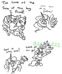 Size: 676x814 | Tagged: safe, artist:jargon scott, princess celestia, princess luna, alicorn, changeling, pony, broom, buzzing wings, bzzzzz, comic, cute, dialogue, female, flying, holding a changeling, mare, monochrome, neo noir, onomatopoeia, partial color, royal sisters, simple background, white background, wings