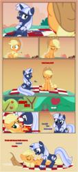Size: 1919x4225   Tagged: safe, artist:estories, applejack, oc, oc:silverlay, earth pony, pony, unicorn, comic:a(pple)ffection, canon x oc, comic, female, lesbian, shipping, silverjack, sweet apple acres