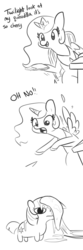 Size: 1152x3456 | Tagged: safe, artist:tjpones, princess celestia, twilight sparkle, alicorn, pony, unicorn, accident, chair, comic, dialogue, female, food, grayscale, hoof hold, mare, monochrome, oh no, quesadilla, simple background, sitting, they're just so cheesy, this will end in turophobia, twiggie, unicorn twilight, white background