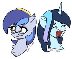 Size: 1208x985 | Tagged: safe, artist:puetsua, oc, oc only, oc:eclipse lim, oc:stardust stellar, bat pony, pony, unicorn, bat pony oc, bust, chest fluff, duo, ear fluff, expressions, eyes closed, fangs, female, glasses, mare, open mouth, portrait, simple background, slit eyes, smiling, white background