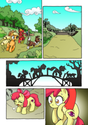 Size: 1201x1700 | Tagged: apple bloom, applejack, apple siblings, artist:tarkron, big macintosh, bridge, carrying, comic, comic:ghosts of the past, countryside, dog, earth pony, female, filly, male, mare, no dialogue, pony, safe, silhouette, stallion, sweat, sweatdrop, tired, winona