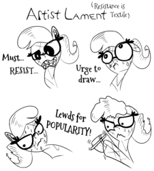 Size: 1500x1661 | Tagged: artist:krystalmark, braces, comic:artist lament, crystal pony, dialogue, earth pony, female, glasses, monochrome, oc, oc:krystal mark, oc only, pony, safe, stylus, sweat