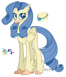 Size: 1280x1503 | Tagged: artist:dianamur, classical hippogriff, female, hippogriff, magical lesbian spawn, oc, oc only, offspring, parent:princess skystar, parent:rarity, safe, simple background, solo, transparent background