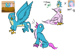 Size: 1200x800 | Tagged: artist:horsesplease, crowing, derp, female, gallstream, gallus, hippogriffon, hybrid, interspecies offspring, male, oc, oc:blinky, oc:bobby, oc:fritters, offspring, parent:gallus, parents:gallstream, parent:silverstream, safe, shipping, silverstream, straight, what have i done