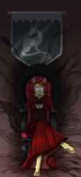 Size: 1867x4058 | Tagged: anthro, anthro oc, artist:blackblood-queen, chair, clothes, commission, crossed legs, crystal pony, female, glowing eyes, intimidating, mare, oc, oc:carnelian clout, oc only, safe, solo, unguligrade anthro