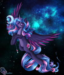 Size: 3150x3700 | Tagged: alicorn, artist:mailner, colored wings, fusion, horn, hybrid, lipstick, looking at you, pony, princess luna, redesign, safe, slit eyes, snake eyes, solo, spread wings, staff, twilight sparkle, twilight sparkle (alicorn), wings