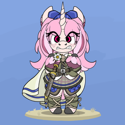 Size: 800x800 | Tagged: safe, artist:haegle hürlag, oc, oc:chalice, semi-anthro, angry, armor, belt, bow, chibi, clothes, flower, hair bow, leggings, red eyes, skirt, sword, weapon