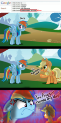 Size: 1500x3010 | Tagged: safe, artist:rainbow eevee, applejack, rainbow dash, pony, angry, applejack's hat, appletini, comic, cowboy hat, derp, duo, duo female, female, fffuuuuu, freckles, furious, google, google search, greeting, hat, implied death, internet, looking at each other, macro, meme, murder, park, ponified meme, ponyville, rage, rage face, sweat, sweat drop, this will end in pain, this will end in tears, this will not end well, tiny, tree, wat, waving, why