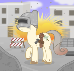 Size: 2200x2100 | Tagged: ammo belt, ammo pouch, artist:devfield, barrier, blurred background, building, cloud, concrete, cool guys don't look at explosions, dirty, door, drain, earth pony, explosion, female, gradient mane, gradient tail, gun, gun holster, helmet, m1911, oc, oc only, oc:osha, playerunknown's battlegrounds, pony, rock, rubble, ruins, safe, shading, shadow, show accurate, sky, solo, weapon, window