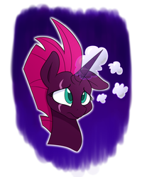 Size: 1200x1500 | Tagged: artist:heir-of-rick, atg 2019, broken horn, daydream, female, floppy ears, frown, horn, magic, mare, newbie artist training grounds, pony, sad, safe, solo, tempest gets her horn back, tempest shadow, thought bubble, unicorn