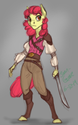 Size: 690x1100 | Tagged: alternate universe, anthro, apple bloom, artist:joan-grace, pirate, safe, solo, sword, unguligrade anthro, weapon