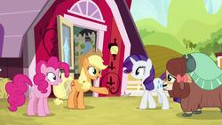 Size: 1280x720 | Tagged: safe, screencap, applejack, pinkie pie, rarity, yona, earth pony, pony, unicorn, yak, she's all yak, bow, cloven hooves, cowboy hat, female, hair bow, hat, mare, monkey swings, sweet apple acres