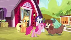 Size: 1920x1080 | Tagged: safe, screencap, applejack, pinkie pie, rarity, yona, earth pony, pony, unicorn, yak, she's all yak, bow, cloven hooves, cowboy hat, female, hair bow, hat, mare, monkey swings, sweet apple acres