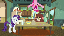 Size: 1280x720 | Tagged: safe, screencap, pinkie pie, rarity, yona, earth pony, pony, unicorn, yak, she's all yak, bow, cloven hooves, female, food, hair bow, in which pinkie pie forgets how to gravity, kitchen, milk, monkey swings, pie, pinkie being pinkie, pinkie physics, trio