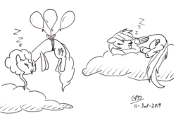 Size: 2472x1720   Tagged: safe, artist:gafelpoez, pinkie pie, rainbow dash, earth pony, pegasus, pony, balloon, cloud, female, floating, mare, monochrome, newbie artist training grounds, sleeping, then watch her balloons lift her up to the sky