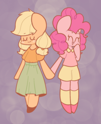 Size: 730x895   Tagged: artist needed, safe, applejack, pinkie pie, pony, applepie, cute, date, diapinkes, female, holding hooves, jackabetes, lesbian, romantic, shipping