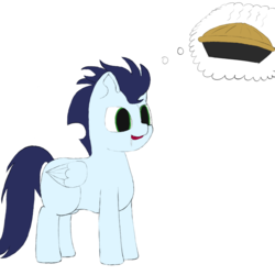 Size: 1000x1000 | Tagged: safe, artist:shoophoerse, soarin', pegasus, pony, atg 2019, drool, food, male, missing cutie mark, newbie artist training grounds, pie, simple background, solo, white background