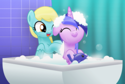 Size: 5543x3724 | Tagged: artist:jhayarr23, background pony, bath, bathroom, bath toy, bathtub, curtain, cute, eyes closed, female, floppy ears, lesbian, mare, pegasus, pony, safe, sassabetes, sassaflash, sassaswirl, seadorable, seafoam, sea swirl, shipping, smiling, suds, unicorn, wet