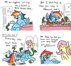 Size: 1188x1107 | Tagged: safe, artist:jargon scott, fluttershy, rainbow dash, pegasus, pony, comic:hotel rainbow, all the way through, backfire, belly, belly button, burger, chinese food, comic, derp, dialogue, distended belly, door, drool, faic, female, food, funny, hot sauce, infestation, mare, messy mane, mucus, oof, open mouth, prone, rainbow derp, refrigerator, smiling, snot, spicy, sweat, taco, takeout, tentacles, what could possibly go wrong