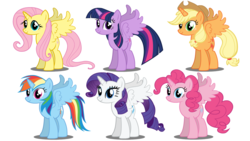 Size: 1280x720 | Tagged: alicorn, alicornified, alicorn six, applecorn, applejack, artist:hakunohamikage, everyone is an alicorn, fluttercorn, fluttershy, mane six, mane six alicorns, pinkiecorn, pinkie pie, pony, race swap, rainbowcorn, rainbow dash, raricorn, rarity, safe, simple background, twilight sparkle, twilight sparkle (alicorn), white background, xk-class end-of-the-world scenario