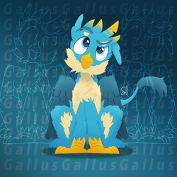 Size: 4000x4000   Tagged: safe, artist:sol-r, gallus, griffon, absurd resolution, blue background, cheek fluff, chest fluff, claws, confused, cute, digital art, fluffy, gallabetes, looking up, male, paws, raised eyebrow, simple background, solo, tail, wings