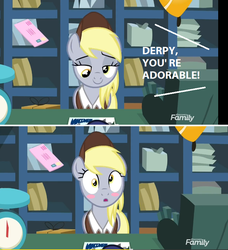 Size: 744x816 | Tagged: between dark and dawn, blushing, cute, derpabetes, derpy hooves, edit, edited screencap, :o, open mouth, pony, post office, safe, screencap, spoiler:s09e13, truth