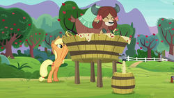Size: 1280x720 | Tagged: applejack, applesauce, apple tree, barrel, bipedal, bow, cloven hooves, cowboy hat, earth pony, female, hair bow, hat, mare, monkey swings, pony, safe, screencap, she's all yak, spoiler:s09e07, tree, vat, yak, yaks doing yak things, yona