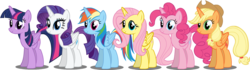Size: 1000x281 | Tagged: alicorn, alicornified, alicorn six, applecorn, applejack, everyone is an alicorn, fluttercorn, fluttershy, mane six alicorns, pinkiecorn, pinkie pie, race swap, rainbowcorn, rainbow dash, raricorn, rarity, safe, twilight sparkle, twilight sparkle (alicorn), xk-class end-of-the-world scenario