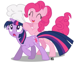 Size: 900x720 | Tagged: artifact, artist:glamourkat, chef's hat, duo, earth pony, female, floppy ears, hat, mare, pinkie pie, pony, safe, simple background, transparent background, twilight sparkle, unicorn, unicorn twilight