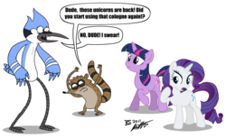 Size: 1280x784 | Tagged: artist:glamourkat, crossover, pony, rarity, regular show, safe, simple background, speech bubble, text, transparent background, twilight sparkle, unicorn, unicorn twilight
