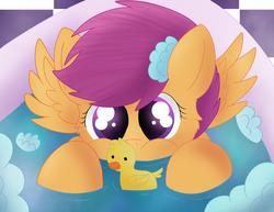 Size: 3300x2550 | Tagged: safe, artist:skyflys, scootaloo, pegasus, pony, bath, cute, cutealoo, female, filly, foam, rubber duck, solo, spread wings, weapons-grade cute, wings