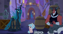 Size: 1919x1028   Tagged: safe, screencap, cozy glow, lord tirek, queen chrysalis, centaur, changeling, pegasus, pony, the summer sun setback, chess, chess piece, chessboard, cloven hooves, female, filly, male, nose piercing, nose ring, piercing