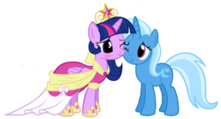 Size: 1600x865 | Tagged: alicorn, artist:navitaserussirus, big crown thingy, clothes, coronation dress, dress, edit, female, jewelry, lesbian, regalia, safe, shipping, simple background, transparent background, trixie, twilight sparkle, twilight sparkle (alicorn), twixie, vector